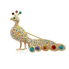 18K Rose Gold Plated Made With Swarovski Crystal Shinny Colorful Peacock Brooch