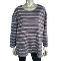 Dressbarn Womens Sweater Plus Size 18/20 Stripe Pullover 3/4 Sleeve Crew Neck