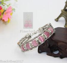 Tibet Silver Bangle Pink Opal Bead Bracelet Woman Earrings