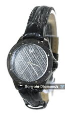 ladies gunmetal black diamond bling dial party business watch ice out leather