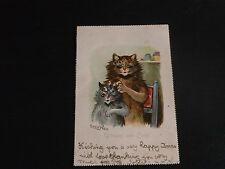 ORIGINAL LOUIS WAIN SIGNED TUCK CAT POSTCARD - UNHAPPY & CURLY - No. 5802.