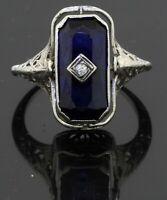 Antique 14K WG .05CT diamond Blue gemstone carved cameo reversible filigree ring