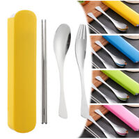 3PCS/Set Stainless Steel Spoon Fork Chopsticks Dinnerware Set Fishtail Shape