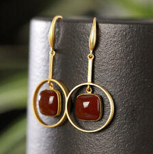 H02 Earring Silver 925 Gold Plated Circle with Square Red Agate