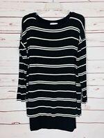 BAILEY 44 Anthropologie Black White Striped Layered Tunic Top Women's Sz S Small