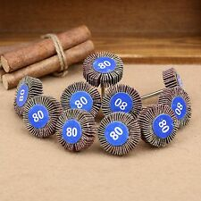 10Pcs Metal Sanding Sandpaper Flap Wheel Discs 80# Grit For Power Rotary Tools