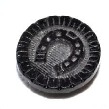 Petit bouton ancien original en verre noir ou en jais fer à cheval 11mm button