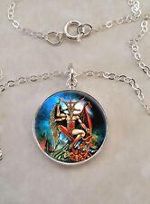 Sterling Silver 925 Necklace Baphomet Satan Devil Satanism Demon
