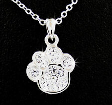 Adorable New Silver Tone Paw Print Austrian Crystal Charm Pendant Necklace Pet