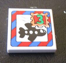 Lego Fabuland 3068bpx73 Tile 2x2 with Letter, Airplane and 3 Stamp du 3675 3793