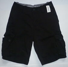 Mens Men's AEROPOSTALE Solid Cargo Shorts Black size 27 NWT #0826