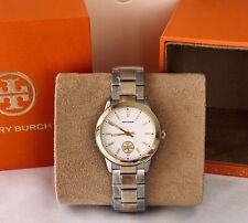 NEW TORY BURCH COLLINS Silver & Gold Two-Tone Stainless Steel 32mm Watch TBW1306
