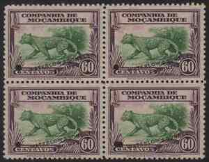 Mozambique Co. 1937 60c Leopard Waterlow color sample green/purple block of four