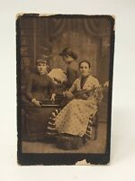 Vintage Photograph CDV 3 Women Guitar, Holding Bag, Photographer R A Reed MA