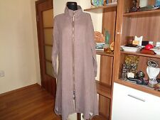 BOHEME LINEN ZIPPED BROWN MELANGE SLOUCHY PARACHUTEBOTTOM LAGENLOOK COAT-M,12-UK