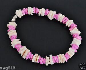 White/pink genuine puka shell bracelet/anklet