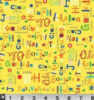 Fat Quarter What a World International Greeting Yellow Cotton Quilting Fabric