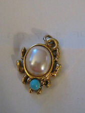 Vintage Goldtone Jelly Belly Bug Pendant Faux Pearl Faux Turquoise Pull Charm