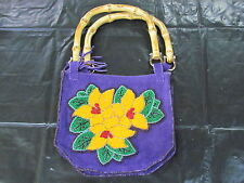 NATIVE AMERICAN BEADED PURSE ORANGE FLOWERS GREEN PETALS , WOODEN STRAP ,FRINGES
