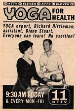 1961 KTTV tv ad ~ RICHARD HITTLEMAN & DIANE STUART hosts YOGA For Health