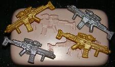 Silicona Molde c.o.d Guerra Ejército Machine Gun Cumpleaños Icing Pastel Cupcake Fimo