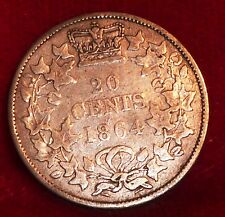1864 New Brunswick Canada 20 CENTS  Queen Victoria Beautiful Silver Coin