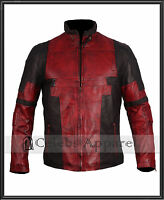 Mens Biker Waxed Fashion Ryan Reynolds Deadpool 2 Leather Jacket Cosplay Costume