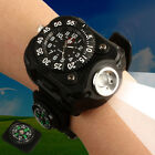 Tactical LED Flashlight Wrist Watch Rechargeable Outdoor Night Waterproof Lamp