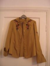 NWOT LINEA mustard yellow embroidered blouse with feature cuffs, size 12