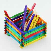 50x Wooden Popsicle Sticks Kids Handmade Hand Crafts Ice Lolly DIY Making