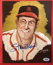 RARE 17/50 Stan Musial & Artist PSA/DNA STL Cardinals Autographed 8x10 PHOTO