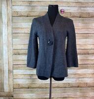Carole Little Women's Gray Cardigan Wool Blend Button Close Medium M Sweater