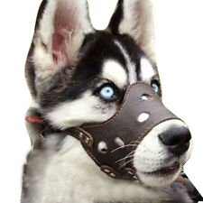 Dog Muzzle Anti Stop Chewing Barking Biting fit Small Medium Large Dogs Leather