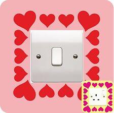 HEART LIGHT SWITCH PLUG SURROUND sticker WALL ART boy girl BEDROOM love hearts