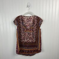 Lucky Brand Top Small Multicolor Floral Short Sleeve Cap Boho Peasant Women
