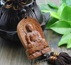 Chinese Rose Wood Carving Shakyamuni Buddha Amitabha Statue Car Pendant Amulet
