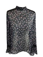 Marks Spencer Blouse Size 14 Navy Blue Floral Mock Neck Lace Trim (RRP £34.00)