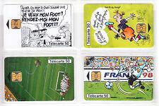 4 TELECARTE / PHONE CARD .. FRANCE 50U PACK ART BD COMICS FOOTBALL 98 PUCE C.12€