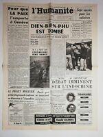 N1240 La Une Du Journal L'humanité 8 mai 1954 bien bien phu est tombé