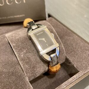 Gucci 6800L Swiss Made Stainless Steel Water Resistant Watch with Bamboo Band