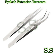 2 Pcs Eyelash Extension Tweezers Straight & Curved Stainless Steel Set