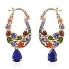 Lapis Lazuli Multi Gemstone 7.62 ct 14K Yellow Gold Sterling Silver Earrings