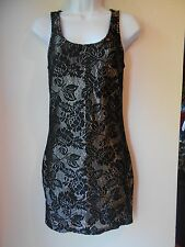 "Papaya BodyCon Dress size Small Black Silver Stretch Zipper Back 26""Waist"