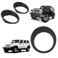 1 Pair Front Light Headlight Trim Cover Bezels for Jeep Wrangler JK 07-17