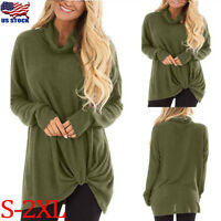 Women Long Sleeve Turtle Neck Casual Knit Sweater Jumper Tops Loose Blouse Shirt