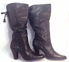 stunning WHITE MOUNTAIN black pebble leather slouchy western inspired boots 9