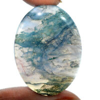 Cts. 39.90 Natural Landscape Moss Agate Oval Cabochon Loose Gemstone