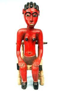 Art Africain Tribal - Ancien Colon Baoulé Assis - Pièce d'Autel Usuelle - 42 cms