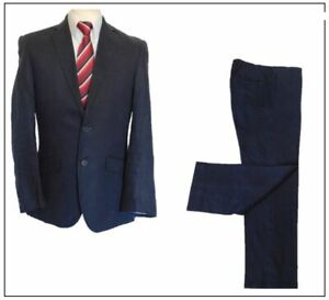 "Blazer Linen 2 piece mens suit Ch38""S W34"" L29"" Navy  Summer"