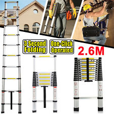 2.6M Aluminum Telescopic Telescoping Collapsible Loft Ladder Extendable UK Stock